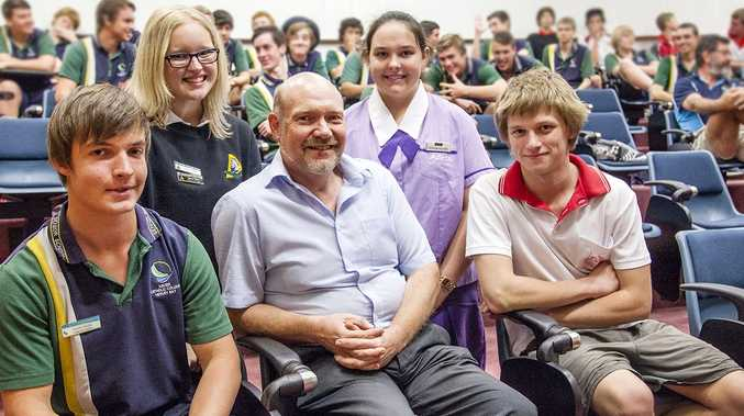Professor Christian Langton with students who attended his lecture at USQ Fraser Coast.