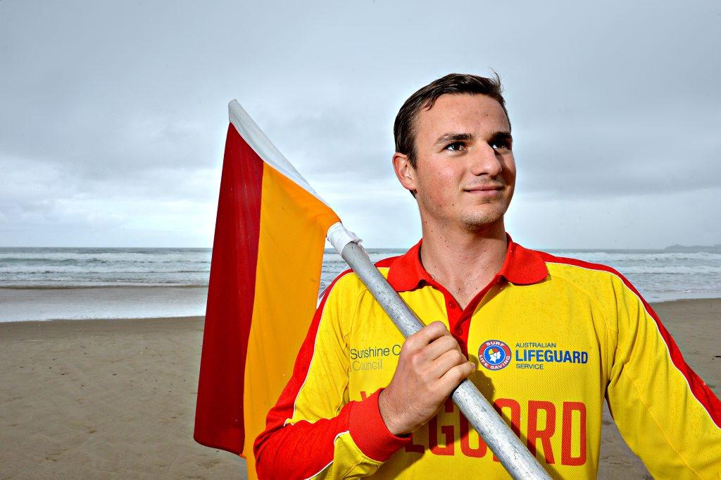 Lifeguards on duty at Maroochydore Beach. Callan Dick l on patrol during rain, hail or shine.