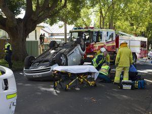 Car rolls on Mort St