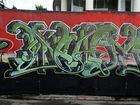 An example of graffiti around the Tweed is this wall in Bay St, Tweed Heads.