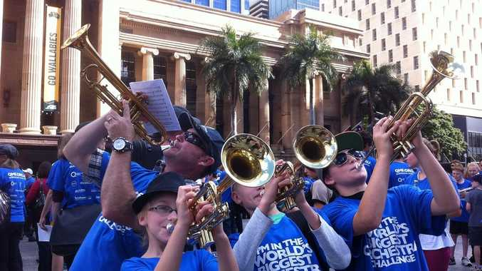Students and teachers from Centaur Primary School will particpate in The World's Biggest Orchestra and the Largest Trumpet Ensemble to try and get into the Guinness World Records