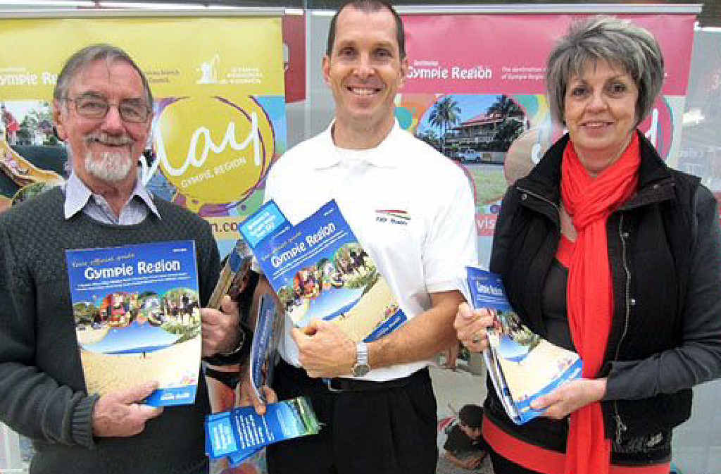 Promoting the Gympie region at Central Station in Brisbane (from left) Destination Gympie Region volunteer Bevan Smithers, Queensland Rail Travel business development manager David Hodson and Destination Gympie Region's Gail McKenzie.