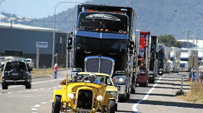 CONVOY: The V8 Supercar transporters roll into town ahead of the Sucrogen Townsville 400.