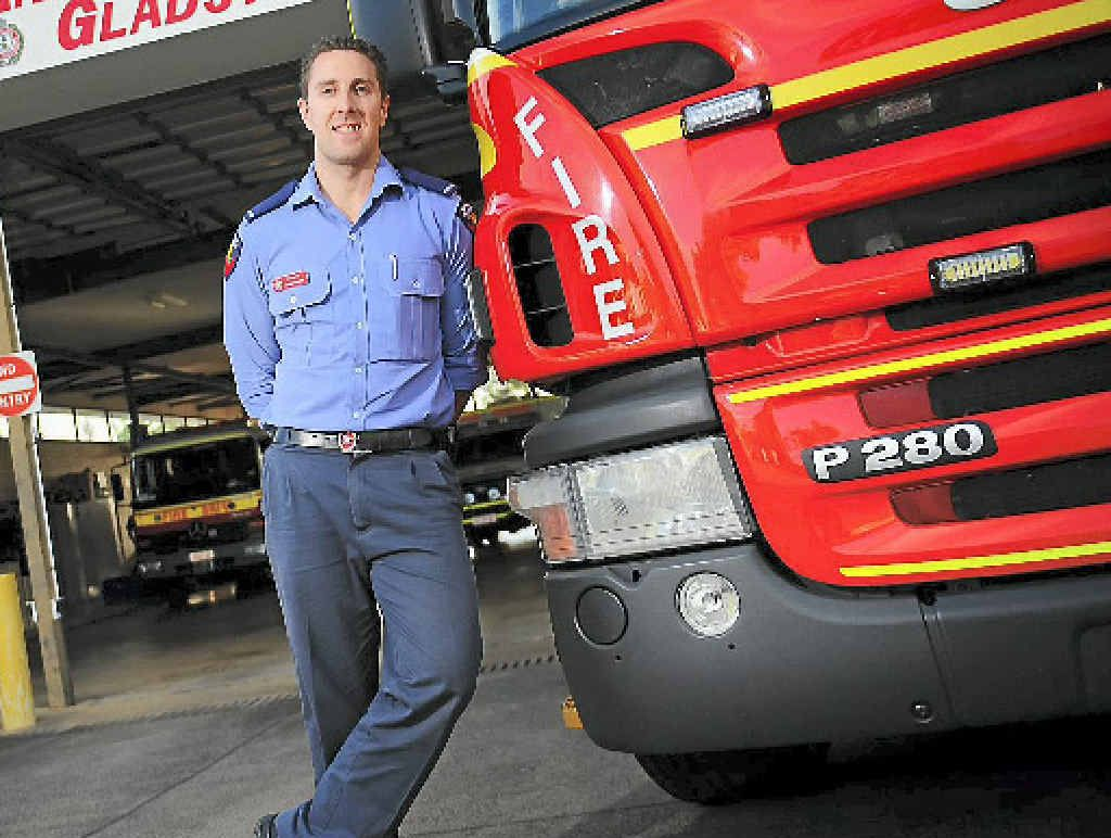 Gladstone firefighter Adam Hollier, 32, enjoys the challenges of the job.