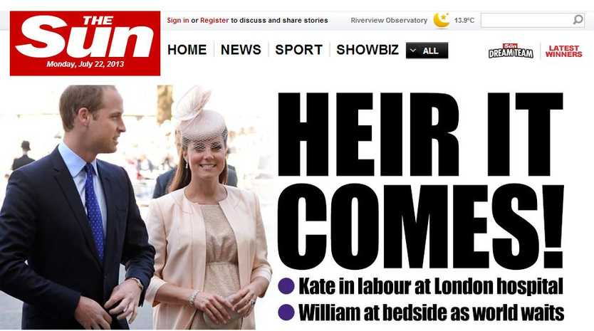 How the UK Sun was reporting the Royal baby on its website on Monday night