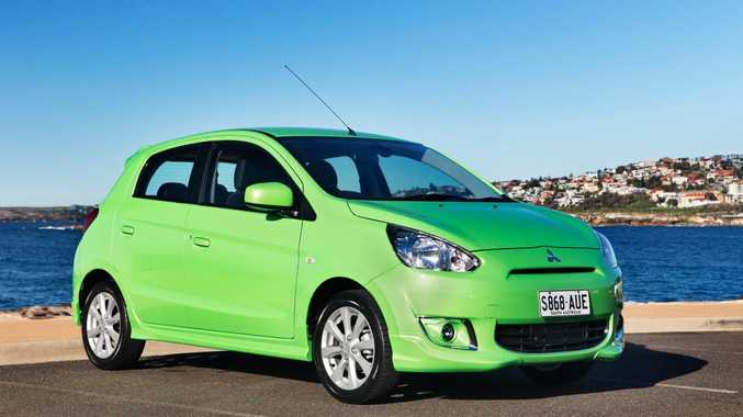 The limited edition Pop Green Mitsubishi Mirage.