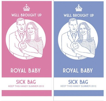 His and her royal baby sick bags for the birth.
