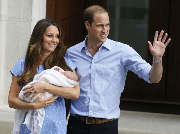 Prince William and Kate show off their royal baby for the first time.