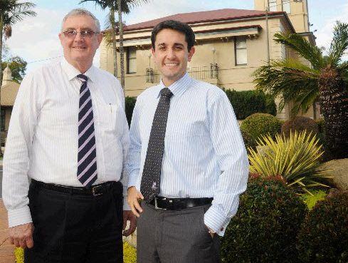 Mayor Ron Dyne and Minister David Crisafulli.