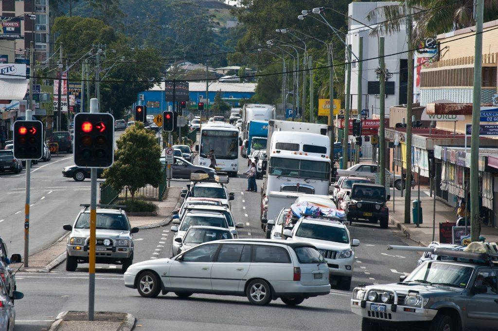 Heavy traffic through the Coffs Harbour CBD.