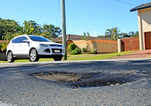 A large pothole on Ducat street, Tweed heads.