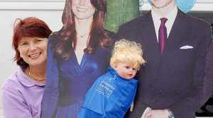 Leukaemia Foundation events co-ordinator Julie Marshall celebrates the prince's birth on Evan St.