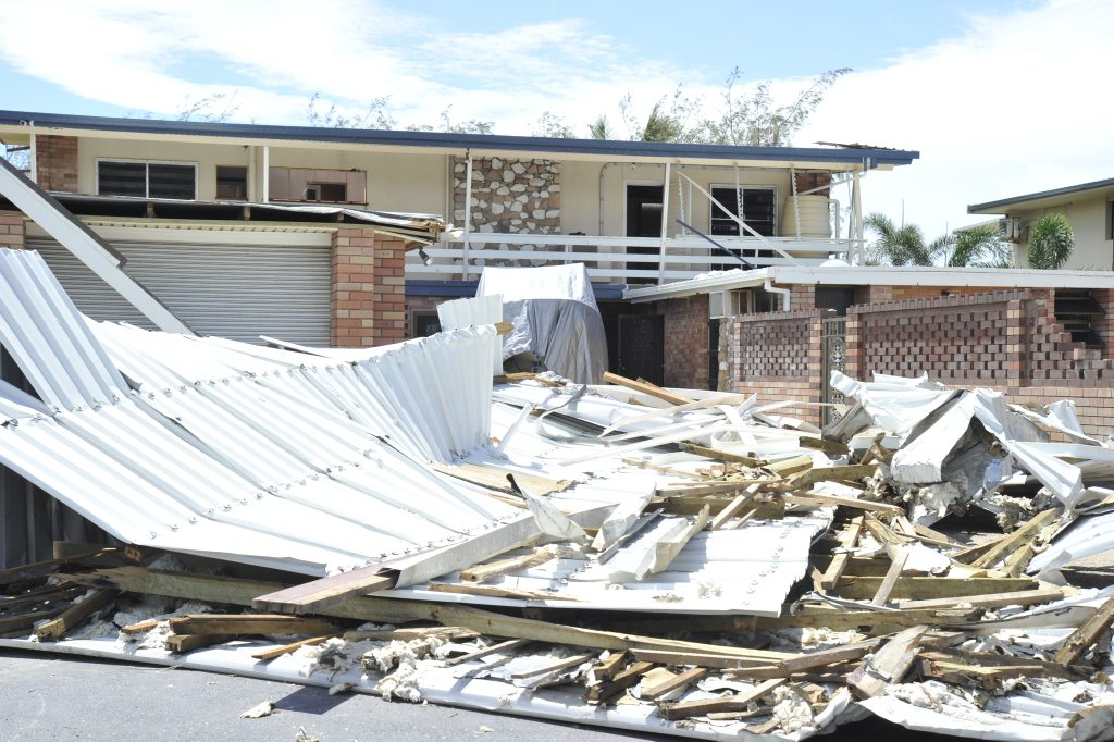 Property damage to a residence after Cyclone Yasi hits the North Queensland.