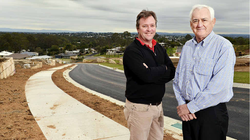 NEW OPTION: QA Developments director Justin Poole and Gorman Property director Dan Gorman check out the new housing development at Bundamba.