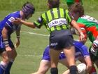 A referee in the U18 Moranbah versus Sarina match appears to tap a player on the helmet.
