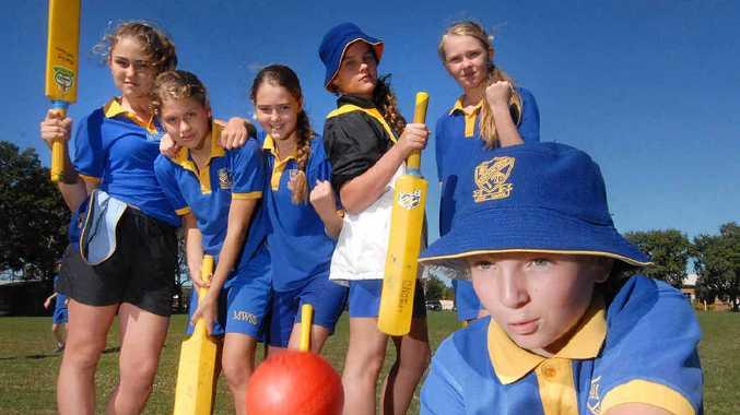 GIRL POWER: Mackay West State School cricketers Tayla Mittelstadt, Chyna Dimond, Rachel McLean, Jorgia Powell, Felicity Thompson and (front) Charni Bloxsom.