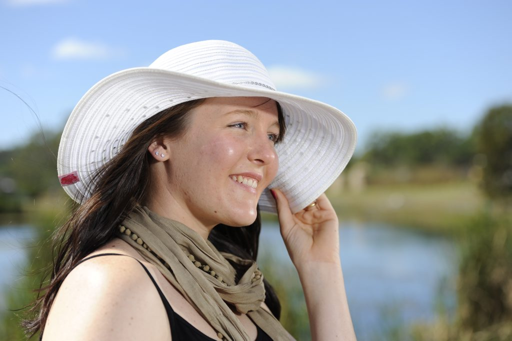 This wide hat ($29.95) is perfect for the beach and keeping the sun off your face while looking stylish.