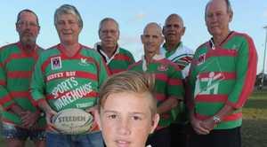 Seagulls rugby league - J'maine Hopgood with old boys (L) John Dwyer, Mark Irving, Alan Lewis, David Yarrow, Mick Johnson and Gordon James. Photo: Alistair Brightman / Fraser Coast Chronicle