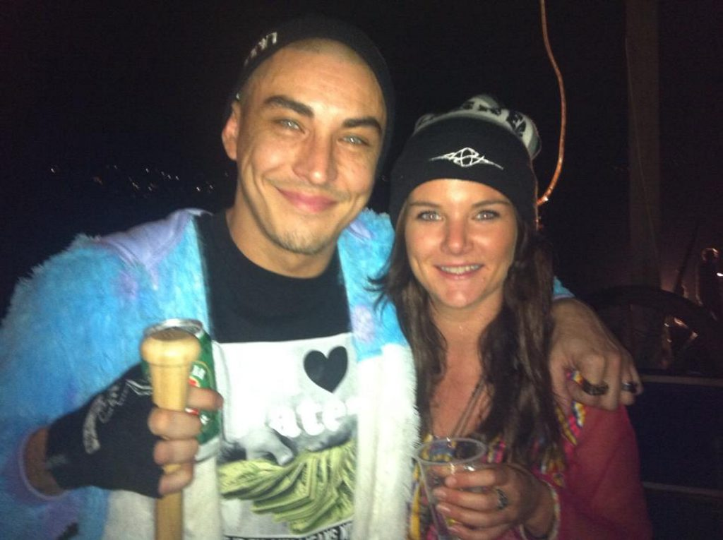 Eso from ARIA award winning Australian hip hop outfit Bliss n Eso, with Coolangatta fan Tessa Shaw at the filming of the Act Your Age video clip in Bilambil.