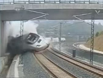 A CCTV camera captures the moment a high-speed train derails in Spain.