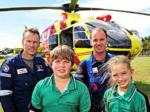 Rescue team flies by