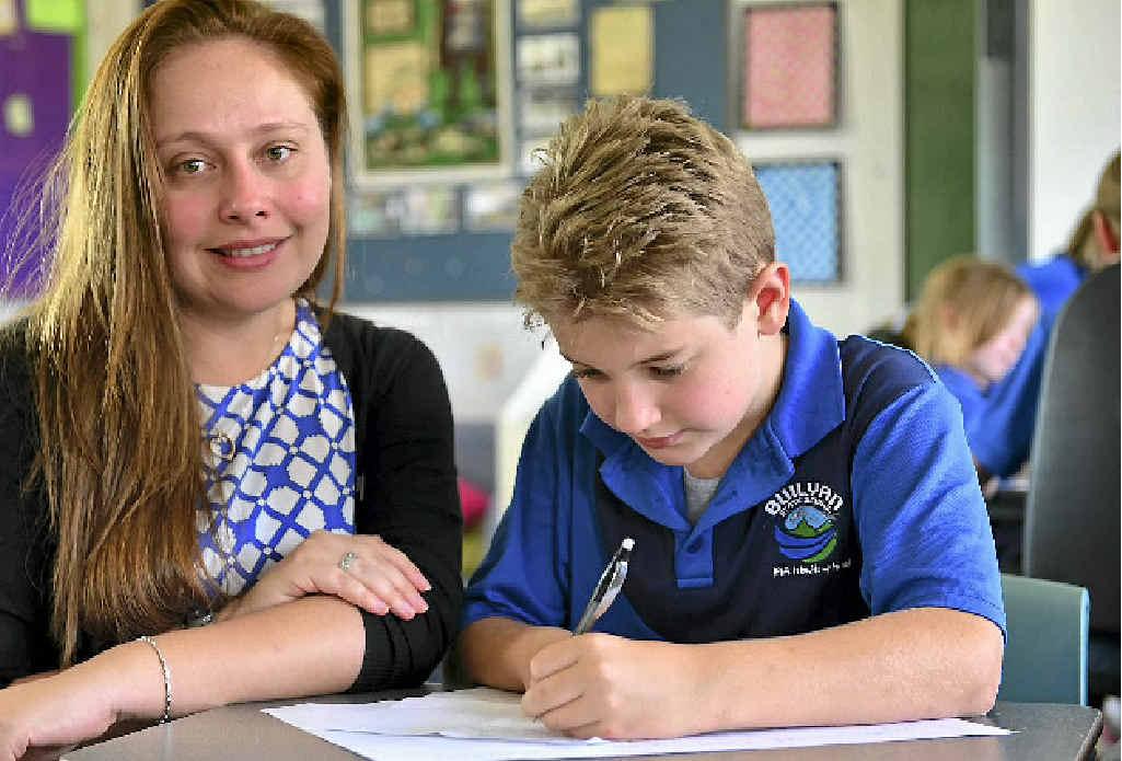 Builyan State School principal Amelia Jenkins with student Sean Hayes, 10.