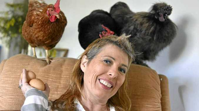 HAPPY CHOOKS: Animal rights campaigner Jaylene Musgrave with rooster Mr Dubwey and hens Ting Tong and Rhianna.
