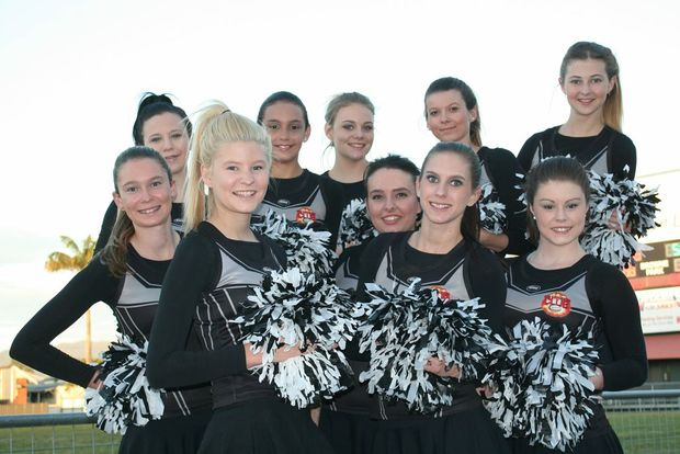 Image for sale: Central Queensland Capras cheerleaders (front, from left) Taylah Pollett, Emma Offord, Jessica Heterick, (second row, from left) Kealie Pollett, Bridie Picton-Struik, (third row) Kimberley Butler, Arlie Flute, Friday McMullen, Nicacia Owens, Sophie White. Photo Guy Williams / Morning Bulletin