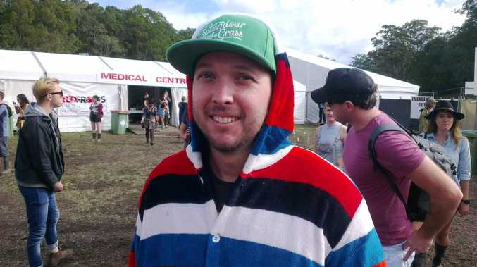 Dean Knobel from Sydney showing off his multicoloured onesie at Splendour in the Grass