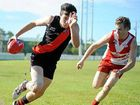 The Ballina Bombers versus The Lismore Swans at Fripp Oval, Ballina. Jacob Rodda on the run down the wing.