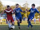 Paddy Kable, of Lismore Workers, finds his way blocked by the Thistles' defence during the Football FNC men's premier division clash.
