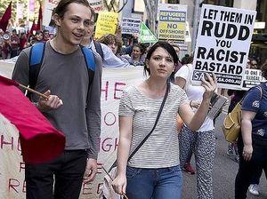 Crowds protest Rudd's new hardline asylum seeker policy