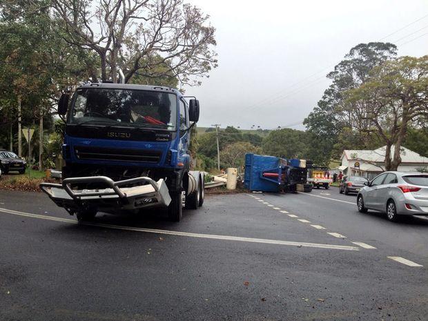 Truck crash at Binna Burra Monday morning.