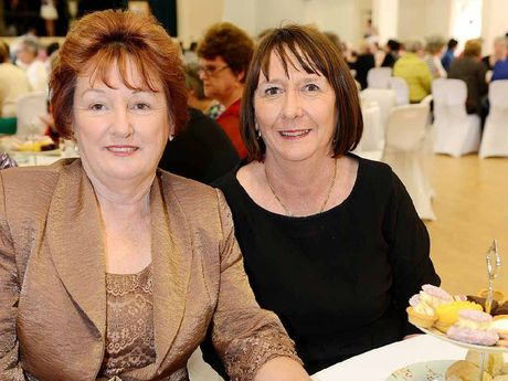 GOOD TIMES: Dorothy Benson and Mary Smith enjoy themselves at the St Mary's Sesquicentenary high tea.