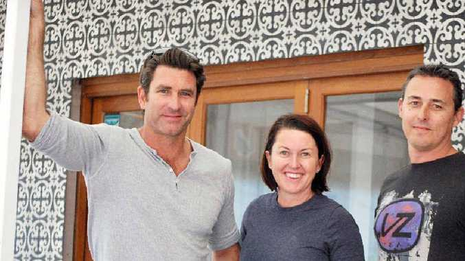 FOODIES : Musician Pete Murray with new business partners Sally and Brad Cook at the site of their new restaurant/bar, Frankie Brown Cafe in Lawson Street, Byron Bay.