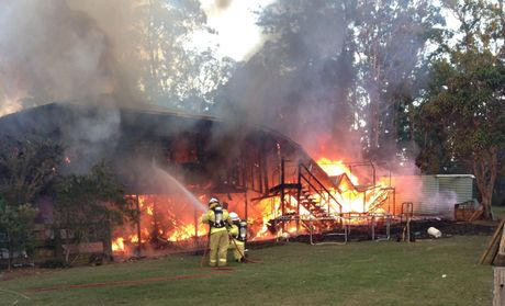 Fire destroyed a two-storey house on 1921 Old Gympie Rd, Glasshouse Mountains.