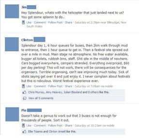 Some of the comments on the Splendour in the Grass 2013 Facebook page.