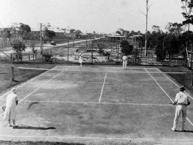 Tennis courts in Pialba's Main St in the 1930s.