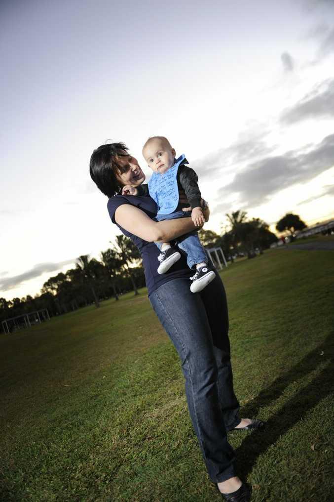 Michelle Kiss with her nephew Tyler Batterham, 12 months.