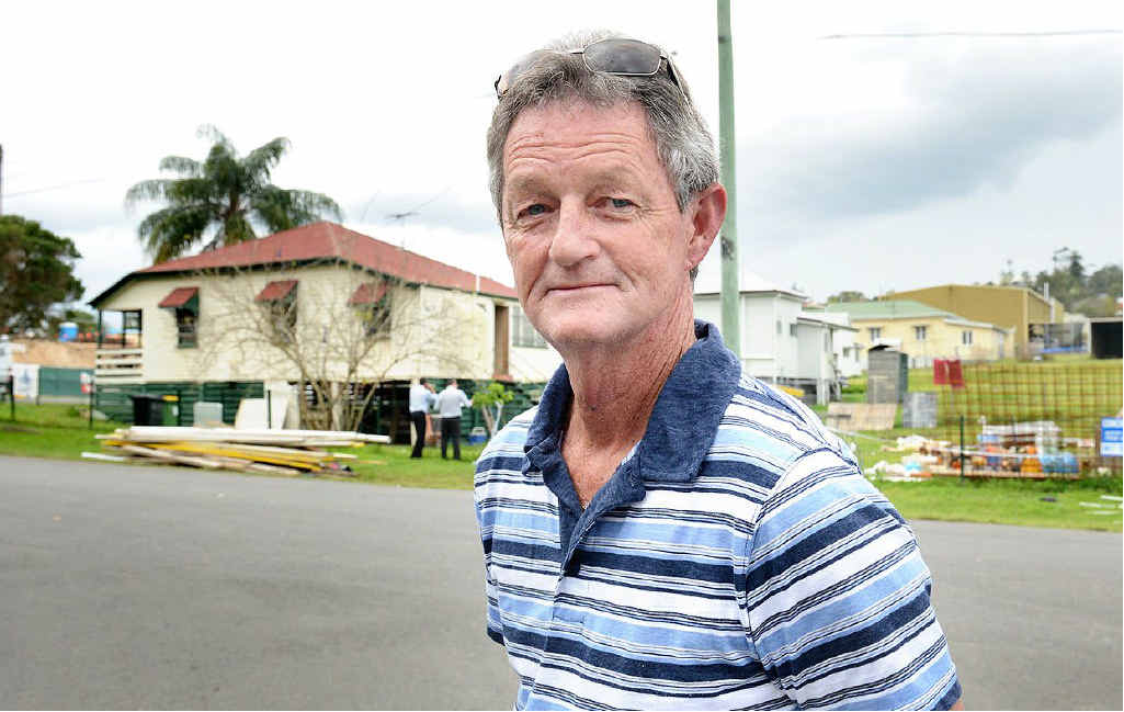 BLAST: Home owner and landlord Rick Hyde at his Clay St, West Ipswich house where police are in their sixth day of bomb drama.