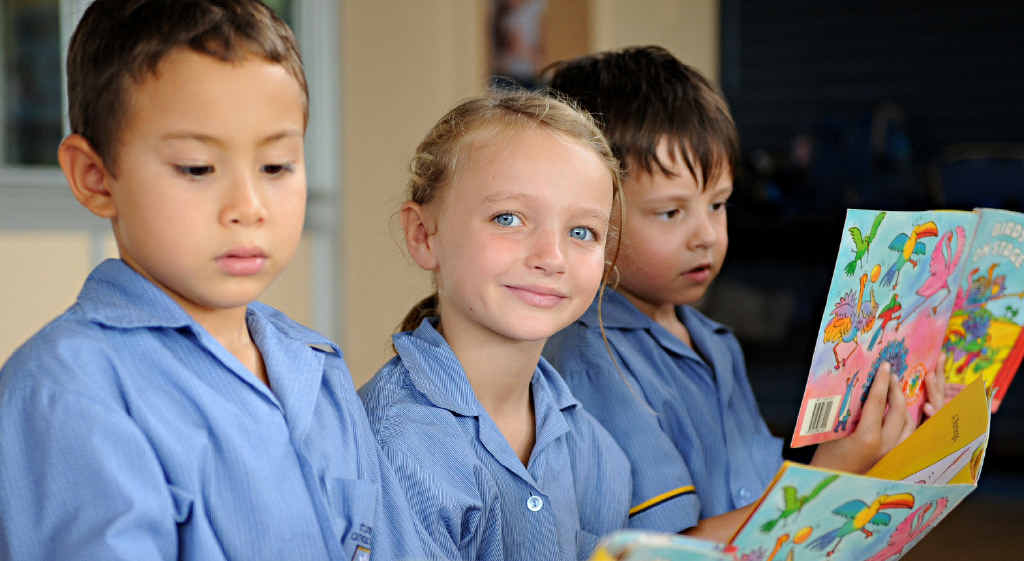 CREATIVE LEARNING: St Catherine's students Jett Pannan, Charlize Spence and Kai Telford had a blast celebrating National Literacy and Numeracy Week at school this week.