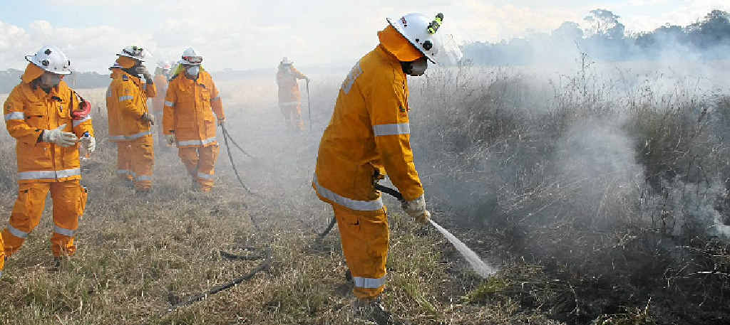 HOT WORK: Rural firefighters in training.