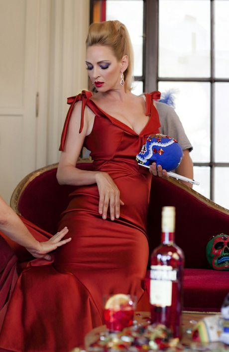 Uma Thurman posing for the Campari Calendar.