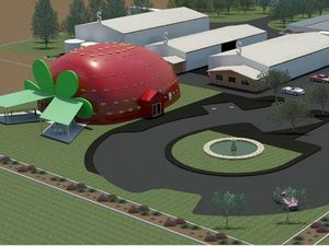 Floods delay the giant strawberry