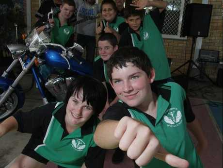 Maryborough Special School students Christina Green and Jayde Wood and friends gear up for the Hogs, Rods and Rock event.
