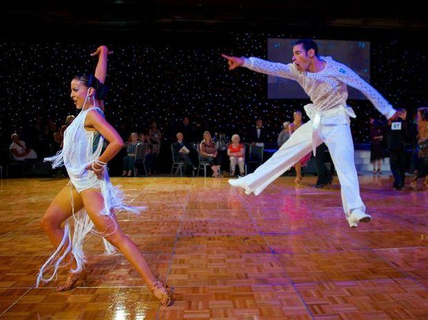 Rockhampton ballroom dancers Amy and Justin Sharrock performing. Photographer Fook Seung Lee