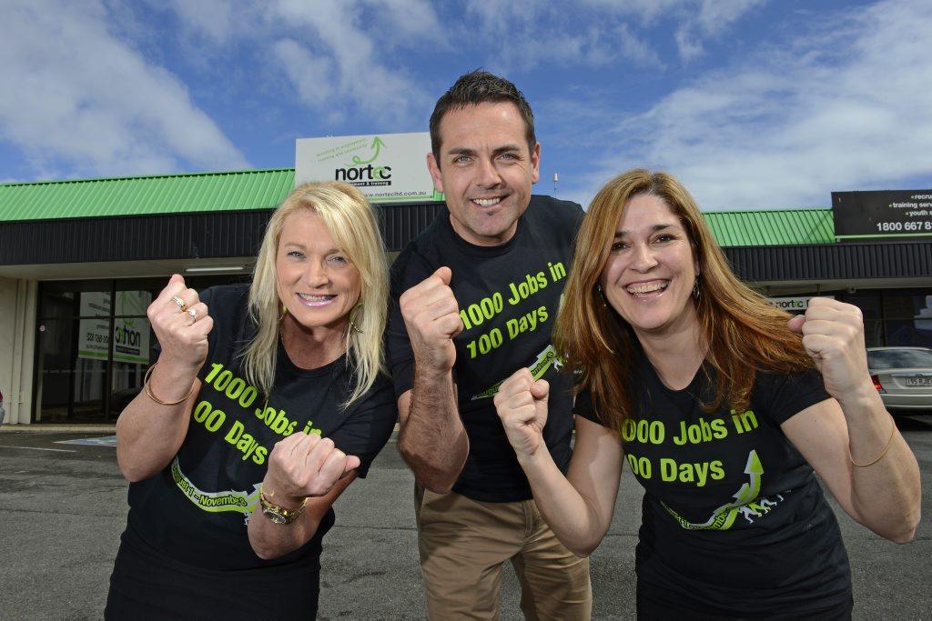 Nortec 1000 jobs in 100 days, Jenny Perkins, Julian Beaumont and Anna Rotondo.