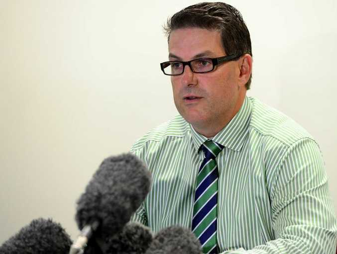 Detective Inspector Darrin Shadlow, District Acting Superintendent and Regional Crime Coordinator at a press conference about a baby found outside an ambulance station in Rockhampton. Photo Sharyn O'Neill / The Morning Bulletin