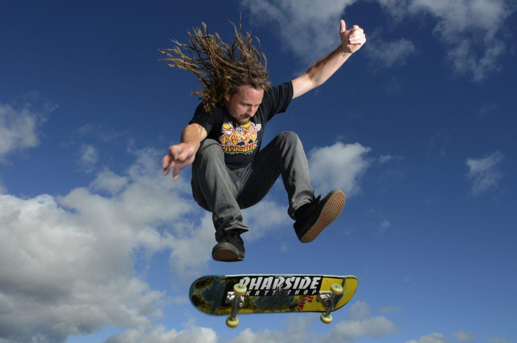 Image for sale: Tony Lawrence of Pharside skate shop at Knox Park Murwillumbah. Photo: John Gass / Daily News