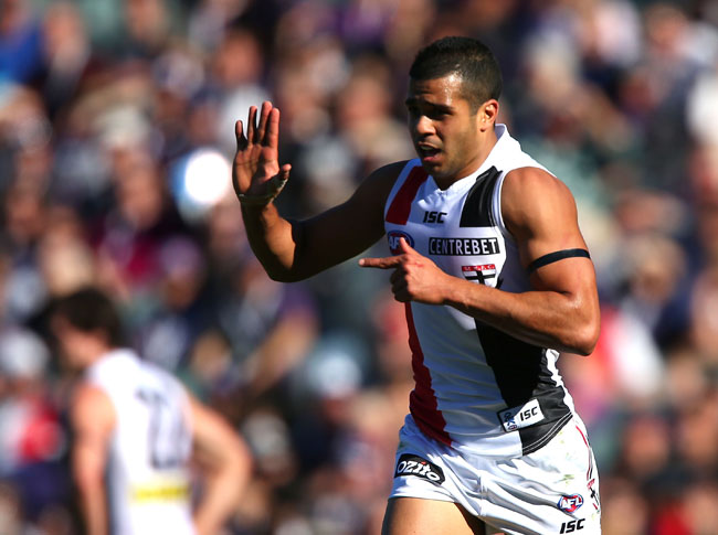 Ahmed Saad of the Saints celebrates a goal during the round 15 AFL match between the St Kilda Saints and the Fremantle Dockers